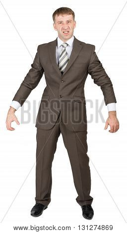 Angry senior businessman stands isolated on white background