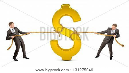 Businessmans pulling glowing dollar sign against another man isolated on white background