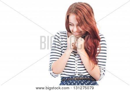 Sneaky and cunning young girl isolated on white background