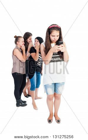 Mean and bullying teen girls. Full body on white background