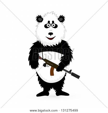Vector Panda Bear which gun standing on white background