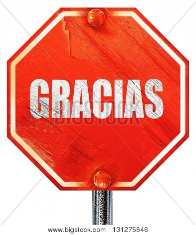 gracias, 3D rendering, a red stop sign