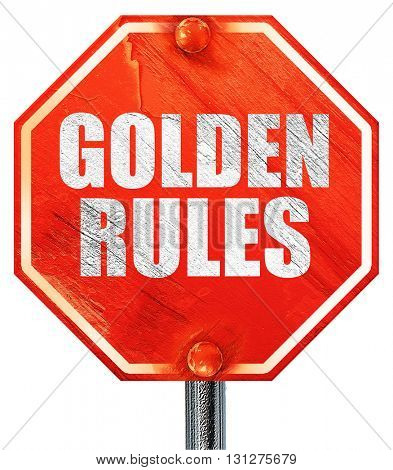 golden rules, 3D rendering, a red stop sign