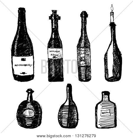 Hand drawn alcohol bottles set on white background. Design element. Icons set. Vector illustration for any design, print, card, fabric.