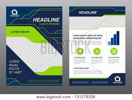 Layout flyer template size A4 cover page Green light line and dark blue art Vector design