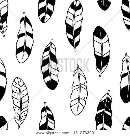 Aztec feathers seamless pattern. Tribal ornament. Ethnic theme. Seamless background in black and white. Adult coloring book page design. Vector illustration
