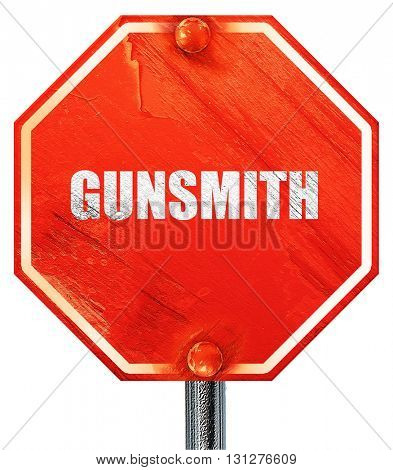 gunsmith, 3D rendering, a red stop sign