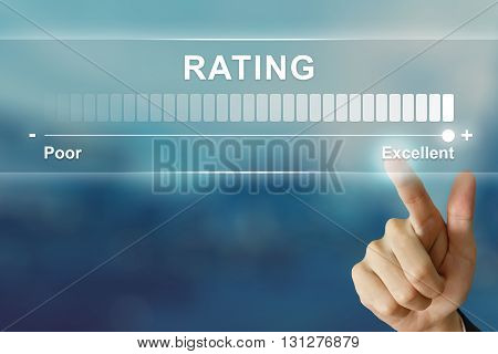 business hand pushing excellent rating on virtual screen interface