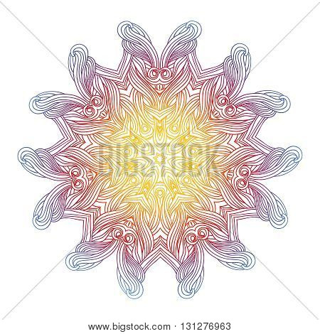 Vector watercolor mandala. Decor. Lace ornament. Round pattern, oriental style. Geometric circle element for your design.