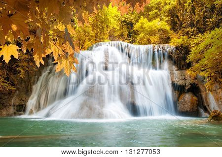 HuayMaeKamin Waterfall beautiful waterfall in autumn forest Kanchanaburi province Thailand