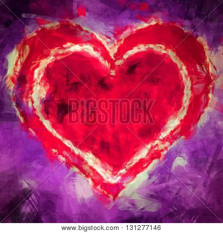 Graphic Illustration of a red heart in a heart on purple blue background