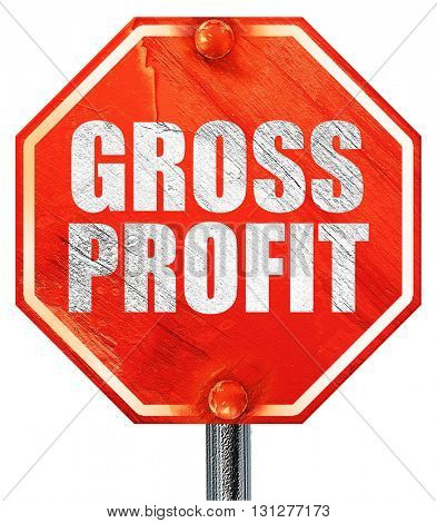 gross profit, 3D rendering, a red stop sign