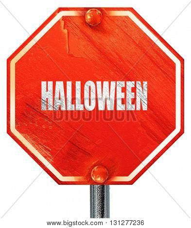 halloween, 3D rendering, a red stop sign