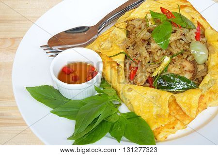 Thai food fried rice with chicken curry