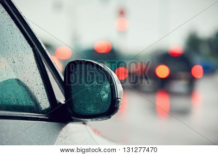 Traffic In Heavy Rain