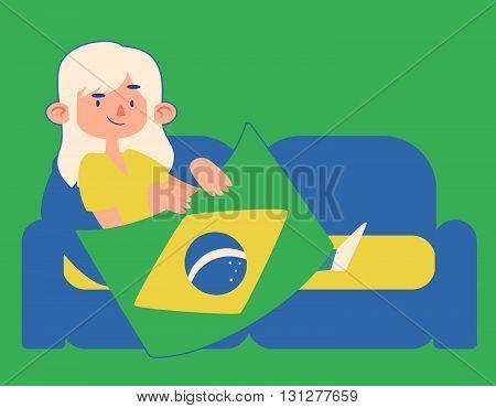 Cartoon Girl Holding A Brazilian Flag On A Sofa
