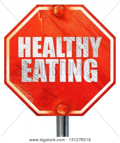 healthy eating, 3D rendering, a red stop sign