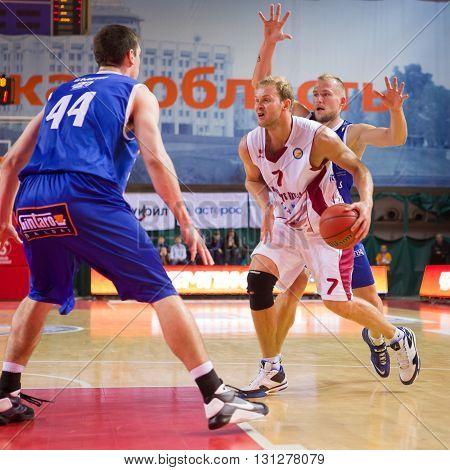 Bc Krasnye Krylia Guard Anton Ponkrashov (7) Drives To The Basket