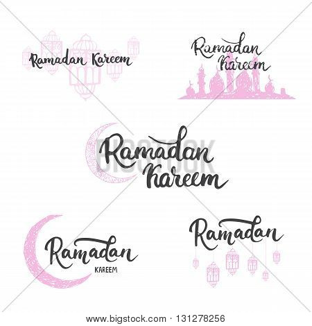 Ramadan Kareem greeting cards set background with lanterns, lettering and mosque. Vector illustration for Ramadan - holiest month in the Islamic calendar for Muslims.
