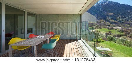 Architecture modern design, veranda of mountain house