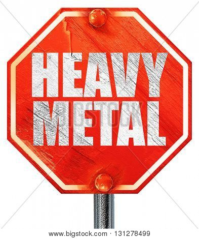 heavy metal music, 3D rendering, a red stop sign