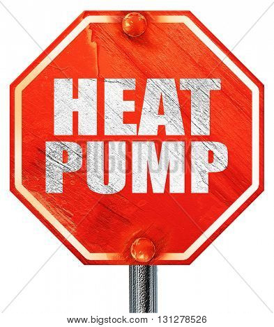 heat pump, 3D rendering, a red stop sign