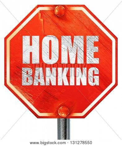 home banking, 3D rendering, a red stop sign