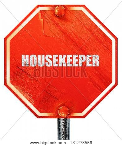 housekeeper, 3D rendering, a red stop sign