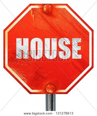 house music, 3D rendering, a red stop sign