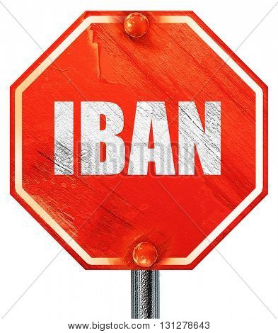 IBAN, 3D rendering, a red stop sign