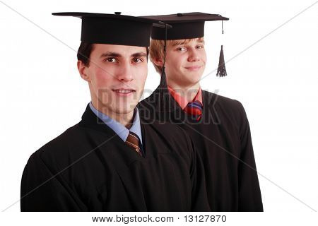 Portrait of a young peoplein a academic gown. Education background.