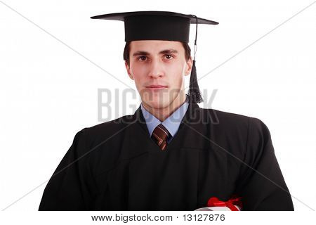 Portrait of a young man in an academic gown. Education background.