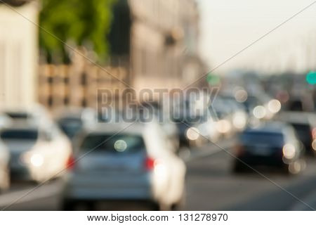 Indistinct Background In A Look The Avtomobidnykh Of Jams In The City