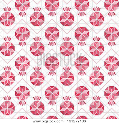 Abstract Symbol of Pomegranate vector seamless pattern. Red pomegranate background. Abstract geometric pattern.