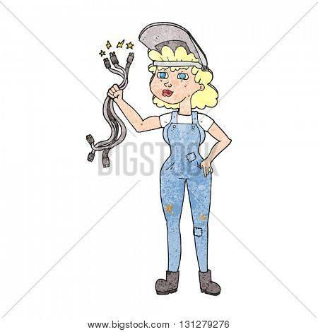 freehand textured cartoon electrician woman