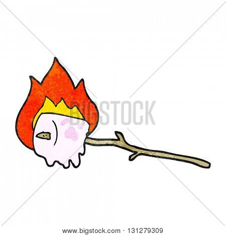 freehand textured cartoon burning marshmallow