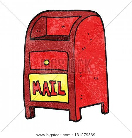 freehand textured cartoon mail box