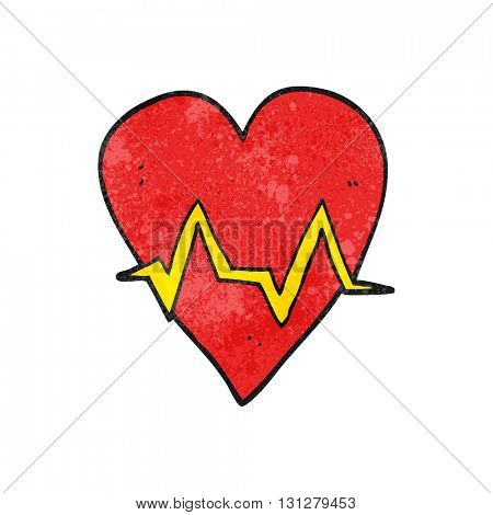 freehand textured cartoon heart rate pulse symbol