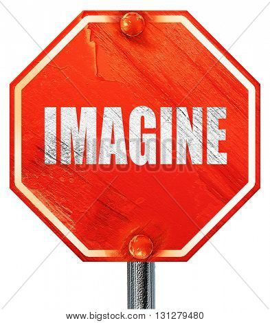 imagine, 3D rendering, a red stop sign