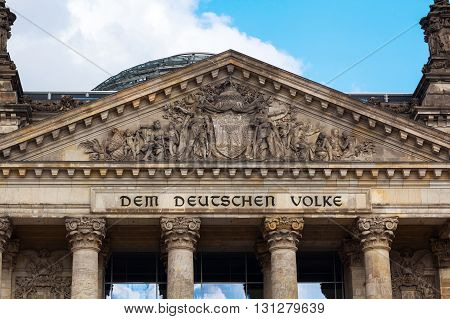 gable of the German Reichstag in Berlin, Germany