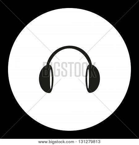Music Headphones Black Simple Isolated Icon Eps10