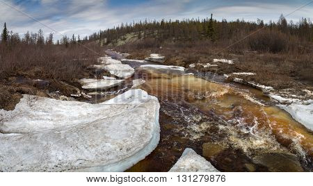 Spring melting of ice on the fast mountain stream