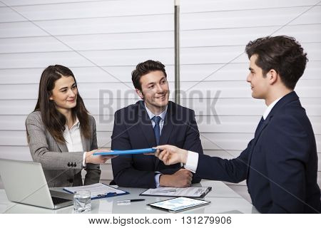 Office job interview in the background Working Conceptual Business Concept