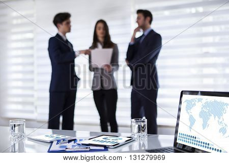 Office workers interacting in the background Working Conceptual Business Concept