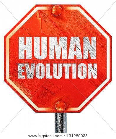 human evolution, 3D rendering, a red stop sign