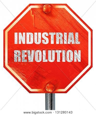 Industrial revolution background, 3D rendering, a red stop sign