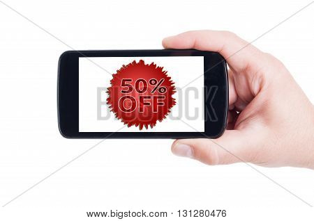 50 Or Fifty Off Discount Price Concept On Smartphone