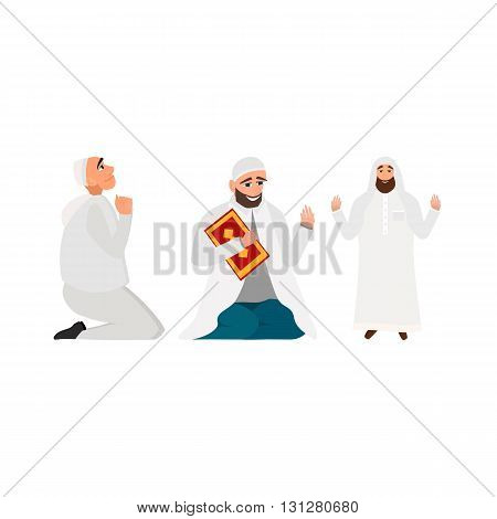 Set islamic man in a white robe with karan pray in cartoon style flat isolated on white background