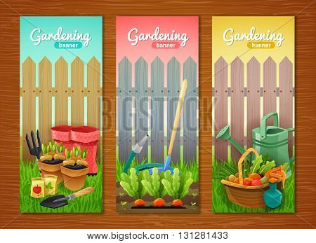 Colorful collection of gardening vertical banners with tools sprout in pots and garden beds and basket of harvest at wooden fence background flat vector illustration
