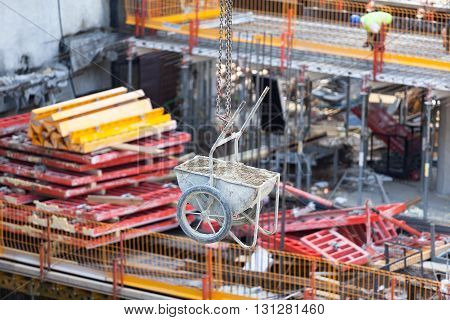 Building site. Building activities at construction site.